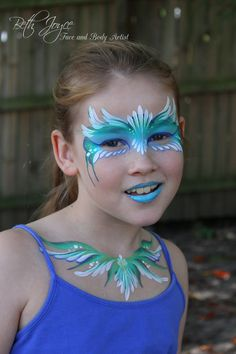 Quick face and décolletage design before heading to the shops - she makes a good billboard :) Brisbane Face Painter, One-Stroke Design, Bodies are my Canvas, Best Job in the World!!