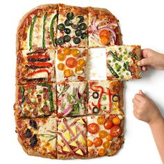 Make the whole-grain crust, lay out the toppings, and let the kids go to town decorating their own squares.