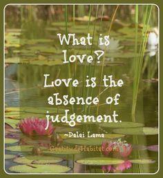 Non-judgementa acceptance + love Visit us at www.GratitudeHabitat.com #Dalai-Lama #love-quote