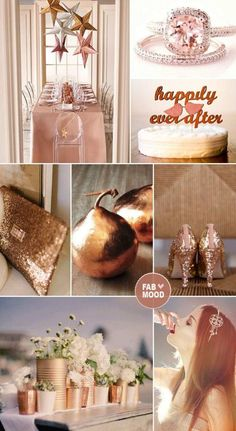 Hochzeit im herbst - Kupfer und Rosa Farben Kombination