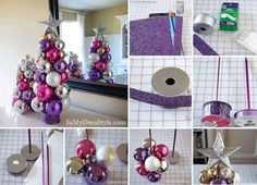 Easy knitting needles ornament Christmas tree