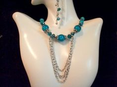 Teal Crackle Bead with Silver Chains Necklace and Earring Set: Beaded Jewelry Sets, Beaded Jewelry by CulbertsCreations on Etsy