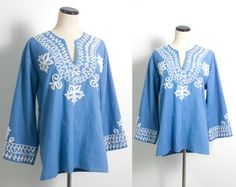 VTG 70's Blue Embroidered Tunic (Large) Mexican Oaxacan Ethnic White Embroidery Tent Blouse Wide Bell Long Sleeves Boho Vintage Shirt