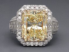 11.06 Tcw Fancy Yellow Radiant Cut Diamond Engagement Ring Solid White Gold 14k