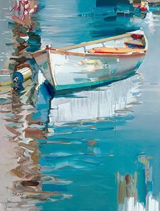 Josef Kote - Looking for Summer - Search Gallery One for Abstract & Contemporary limited edition prints, giclee canvases and original paintings by internationally-known artists Seascape Paintings, Landscape Paintings, Sailboat Painting, Creation Art, Boat Art, Acrylic Art, Beautiful Paintings, Painting Inspiration, Watercolor Paintings