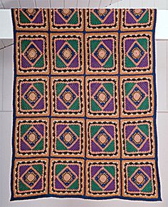 """Free pattern for this beautiful """"Quilt Motif Afghan""""!"""