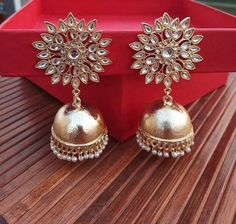 Your place to buy and sell all things handmade Jhumki Earrings, Indian Earrings, Indian Jewelry, Hoop Earrings, Bollywood Jewelry, Golden Earrings, Boho Necklace, Ruby Necklace, Schmuck Design
