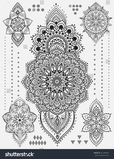 Mandala set and other elements. Vector. Mandala tattoo. Perfect for cards or any other kind of design, birthday and other holiday, kaleidoscope, medallion, yoga, india, arabic