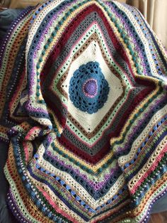 Stitch Sampler Afghan in Scraps - Crochet Afghan Throw Blanket