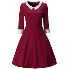Doll Collar Color Block Skater Dress (€34) ❤ liked on Polyvore featuring dresses, 3/4 sleeve skater dress, doll dress, skater dress, collared babydoll dress and colorblock dress