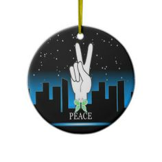 30 SOLD!!!  Hand Peace Symbol with a City Background Christmas Tree Ornaments