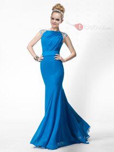 Stylish Mermaid/Trumpet Floor-length Bateau Zipper-up Beading Evening Dress : Tidebuy.com