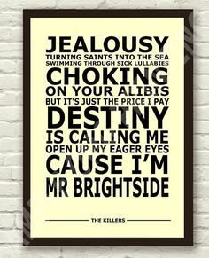 The Killers Mr Brightside Lyrics Typography Subway Art Poster Print A4 A3 Size