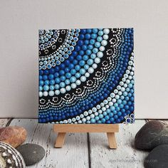 Acrylic paint on canvas board, Dot Painting, small Original painting, Aboriginal Art, Water Art Design, blue decor, 10cm x 10cm