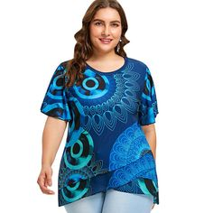 75ae88198 Gamiss Print Flutter Sleeve Overlap Sleeve Plus Size Top Tee. Affordable Plus  Size ClothingPlus Size Clothing StoresPlus Size Womens ...