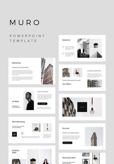 MURO - Powerpoint Presentation + 10 Architecture Stock Photos & 4 Psd Mockups Included Clean, modern and minimal Powerpoint Template. This clean and creative layout gives you many possibilities of creativity. Photos and Mockups (Bonus) used in presentation preview are included. You can edit everything very easy in your Powerpoint Software. With one click resizable and change colors in vector icons and easy drag and drop photos in shape. Layout Design, Design De Configuration, Design Retro, Design Food, Graphisches Design, Slide Design, Flat Design, Graphic Design Layouts, Design Posters