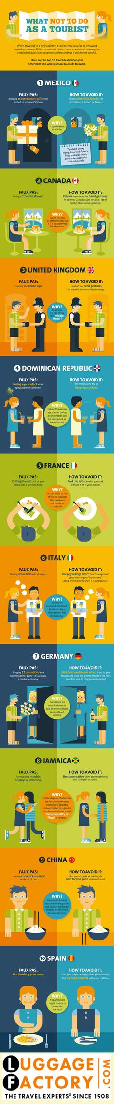 """What Not To Do As A Tourist"" Travelling to different countries often includes encountering different cultures.  This infographic could save much embarassment.  http://voyagebookers.com/travel-advice-infographic/"