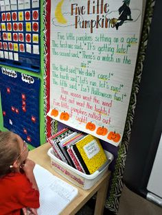 First Grade poetry station. How cool! Different poems for different special days