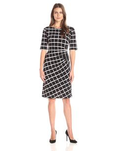 Connected Apparel Women's Elbow-Sleeve Windowpane Side-Gathered Dress ** Remarkable product available now. : Women's dresses