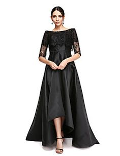 TS Couture Formal Evening Dress - Little Black Dress A-line Off-the-shoulder Asymmetrical Satin with Lace – USD $ 345.00