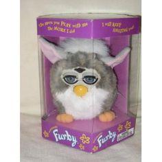 1998 Furby - Gray w/ White Belly & Pink Ears - Model #70-800