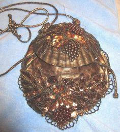 "Unique Vintage Copper/Gold Clamshell Shoulder Purse/Handbag Novelty 8""W X10""L  #Unknown #ShoulderBag"
