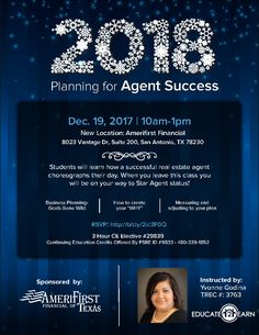 Planning for Agent Success CE Class - Join us and learn how to make your 2018 the best year!