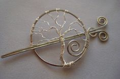 Hair Pin/Shawl Pin Barrette Wire Wrapped Silver Tree by gulickkr, $30.00