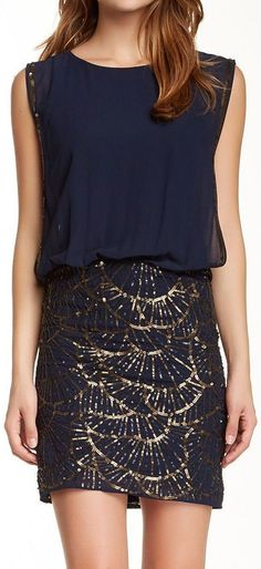 Navy Sequin Embellished Dress