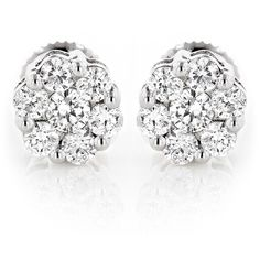 Luxurman 14k White Gold 1/2ct TDW Diamond Cluster Stud Earrings ($543) ❤ liked on Polyvore featuring jewelry, earrings, white, stud earrings, long earrings, stud earring set, white earrings and diamond cluster earrings