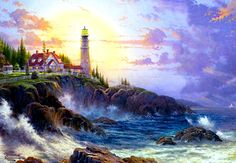 Thomas Kinkade, if you havent been in a thomas kinkade shop, you should go check it out! his paintings are even more amazing in person.
