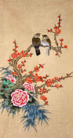 Artist: Jiang Yanmei  The Painting contain Peony, Plum Blossom, Bamboo and Birds elements which are very popular in Chinese Painting.