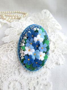 Blue Flower Natural Pearls Felt Brooch.Me-nots Bouquet. Oval