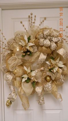 Deco Mesh Classic Golden Wreath by MamaLucys on Etsy, $137.97 by Christie Kocian