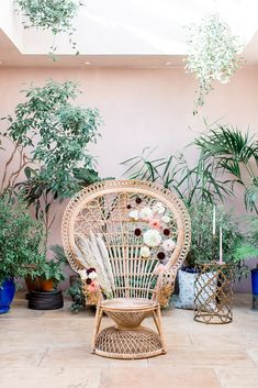Dahlia Flowers on Peacock Chair | Botanical Boho Luxe Inspiration | Philippa Sian Photography