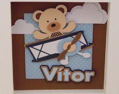 Porta Maternidade Ursinho Aviador Azul
