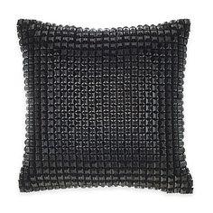 Catherine Malandrino Optic Blanca Square Throw Pillow in Black