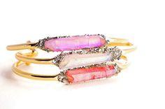 Rainbow Aura Quartz Pyrite bangle  Candy Pink Quartz by CrushedUpp