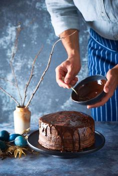 Chocolate Easter Cake - The White Ramekins Chocolate Easter Cake, Chocolate Icing, Melting Chocolate, Round Cake Pans, Round Cakes, How To Stack Cakes, Cake Writing, Types Of Chocolate, Chocolate Sponge