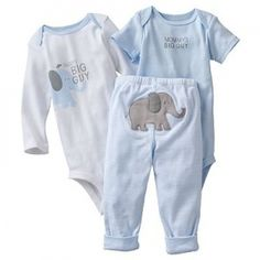 NWT Carter's Baby Boys Elephant 3 Piece Bodysuit Pants Outfit Set NEW....I hope I can find these!