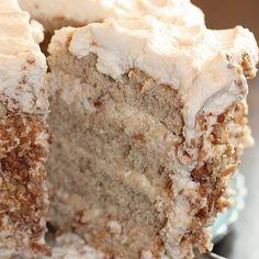 Banana Cake With Praline Filling & White Chocolate Ganache
