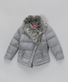Another great find on #zulily! Gray Faux Fur Collar Puffer Coat - Girls by Catherine Malandrino #zulilyfinds