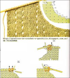 TRICOT, TEJIDO A DOS AGUJAS: FABRIC ROUND NECK TWO NEEDLES Knitting Paterns, Knitting Charts, Lace Knitting, Knitting Stitches, Knitting Designs, Knit Patterns, Knitting Projects, Knit Crochet, Vogue Knitting