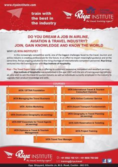 Do you dream a job in #airline, #avaition & #travel industry? Train with the best in the industry #RiyaInstitute. For more information call +91 9562700121 or visit our website http://riyainstitute.com/