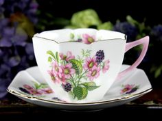 Shelley c1945-1966 Floral Teacup and Saucer, Pink Deco Handled Tea Cup, Black Berry 12910