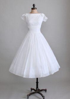 1950's White Organdy Dress