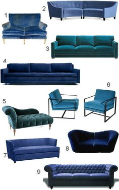 Get the Look: 34 Blue Velvet Sofas | | style carrot | #interiordesign