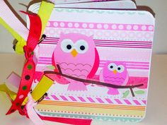 Baby Girl Brag Book Premade pages chipboard Mini Scrapbook Album- Baby Shower- Sweet Pea Owls on Etsy, $24.00