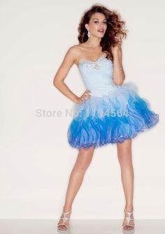 Ball Gown Beading 2015 Short Cocktail Dress Sweeteart Organza Ruffles Mint Color Vestido De Festa Summer Party Gown BS100