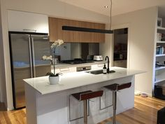 Modern Kitchen Overhead Cabinets modern kitchen with island bench & butlers pantry. polytec natural